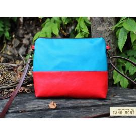 CLUTCH BAG táska Piros csokibarna sötéttürkiz (új)