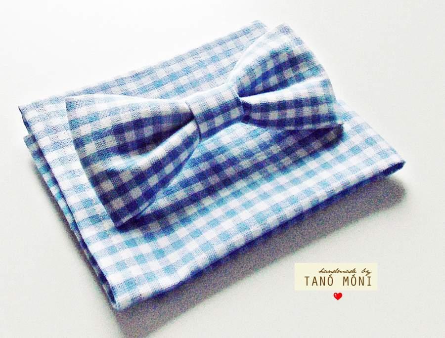 Bow Tie Csokornyakkendő díszzsebkendővel len világoskék kockás  (új)