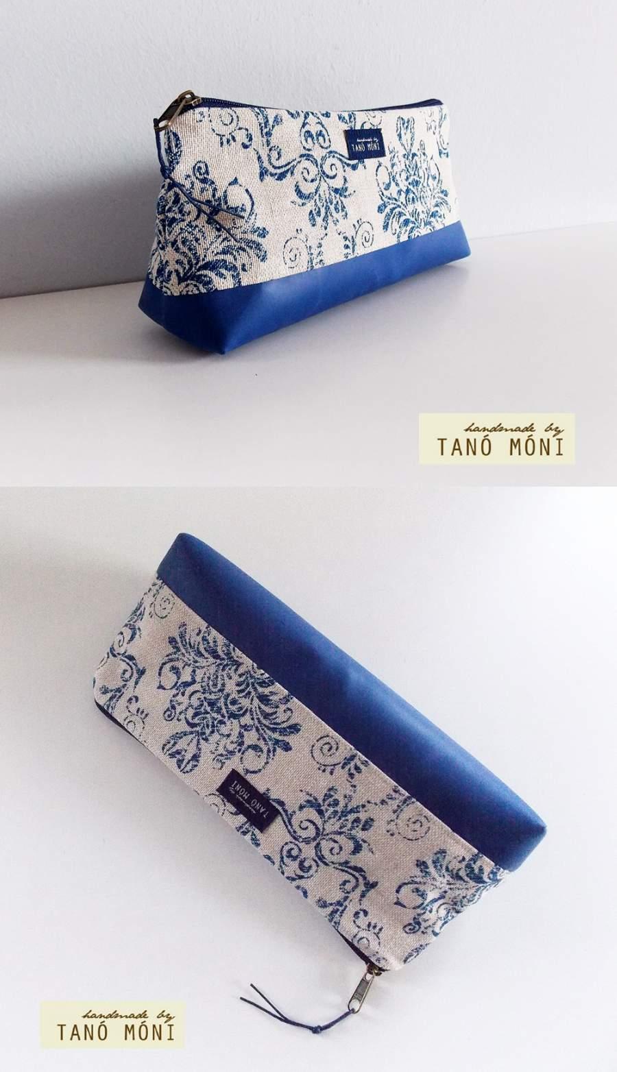 NESZESZER HOSSZÚ kék barokk mintás királykék műbőrrel (új) ... 0223d2c796
