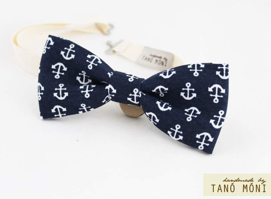 90d48c7d33 ... Bow Tie Csokornyakkendő sötétkék horgony mintás (új)