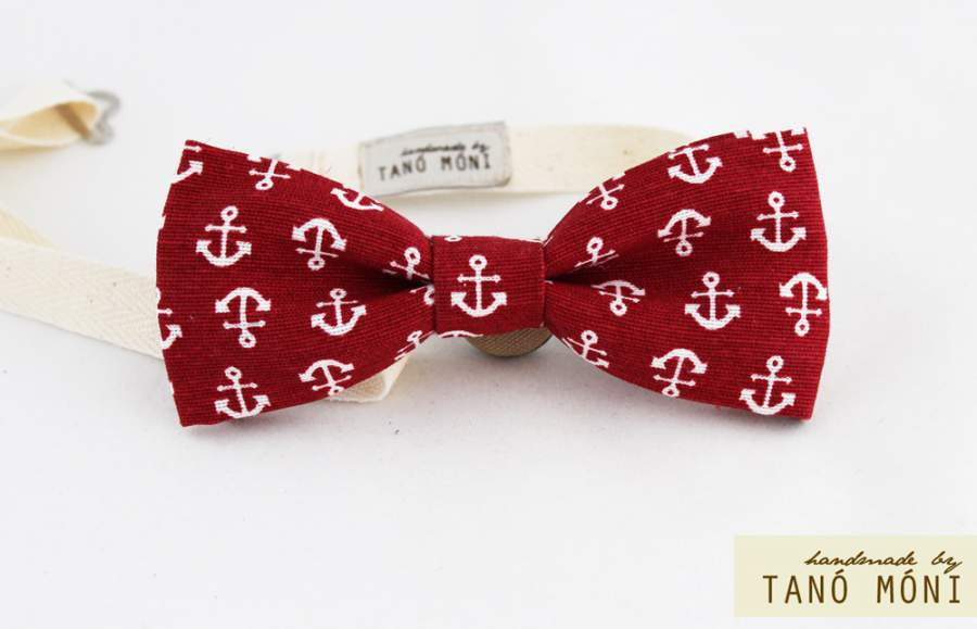 Bow Tie Csokornyakkendő piros horgony mintás  (új)