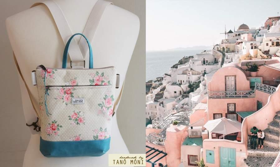 c2c2f1455a39 ... MIDDLE BAG 2 in 1 hátizsák és táska drapp pöttyös rózsás pink és türkiz  alj