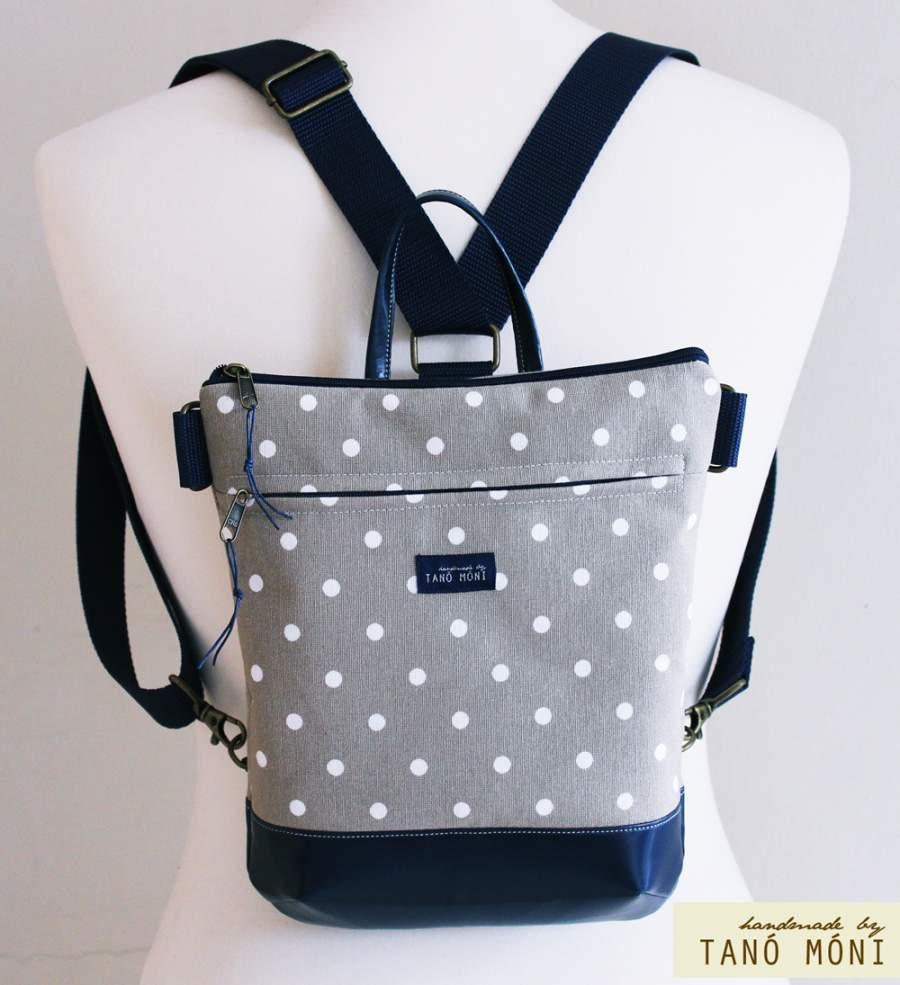 MIDDLE BAG 2 in 1 hátizsák és táska drapp pöttyös piros és kék aljjal