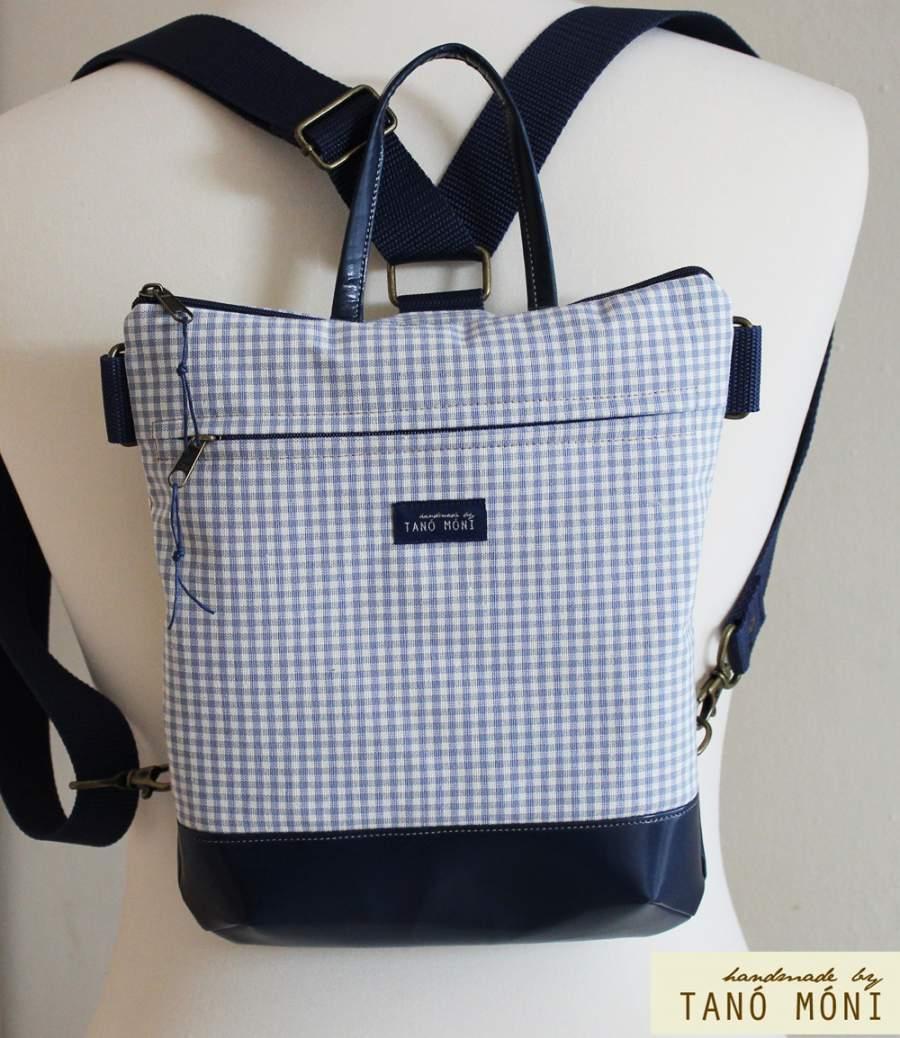 MIDDLE BAG 2 in 1 hátizsák és táska kék kockás barna és kék aljjal
