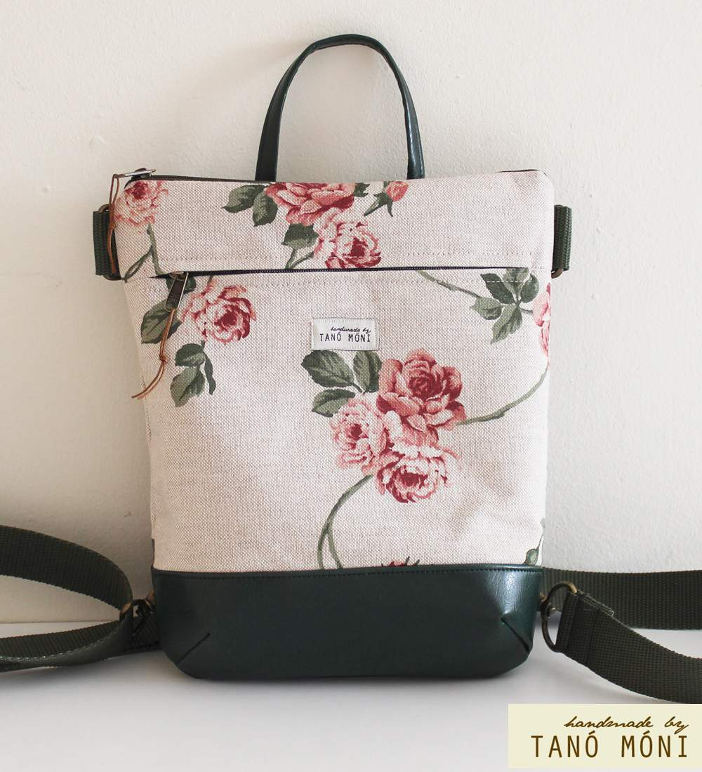 MIDDLE BAG 2 in 1 hátizsák és táska natur piros rózsás olajzöld és barna al