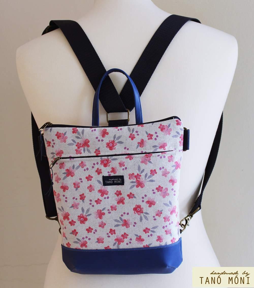 MIDDLE BAG 2 in 1 hátizsák és táska rózsaszín kisvirágos lila és kék aljjal