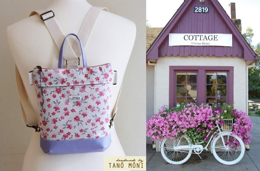 b9c003f7770f MIDDLE BAG 2 in 1 hátizsák és táska rózsaszín kisvirágos lila és kék aljjal
