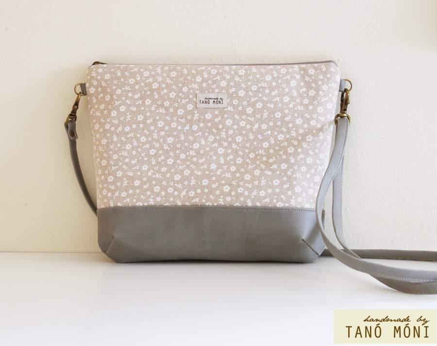 NATURE BAG közepes táska kis virágos galambszürke aljjal