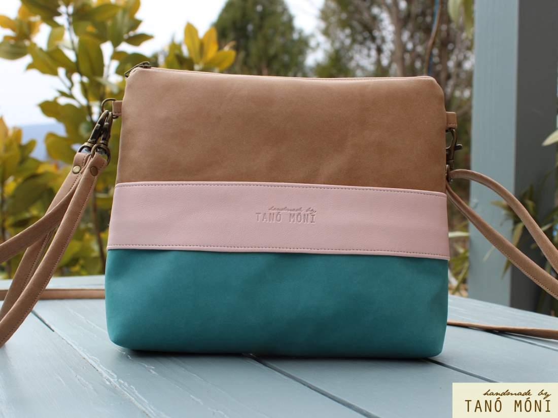 CLUTCH BAG táska türkiz puder natur