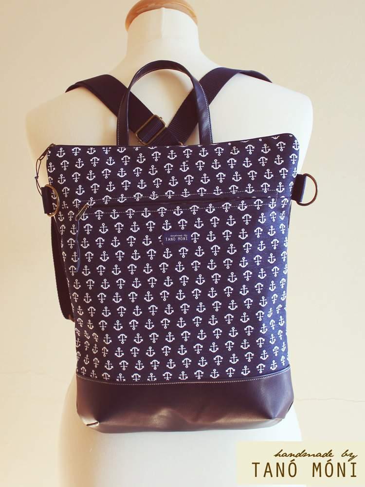 STREET BAG hátizsák és táska kék horgony mintás sötétkék aljjal