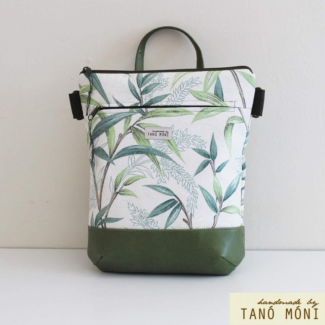 MIDDLE BAG 2 in 1 hátizsák és táska Levél mintás zöld aljjal