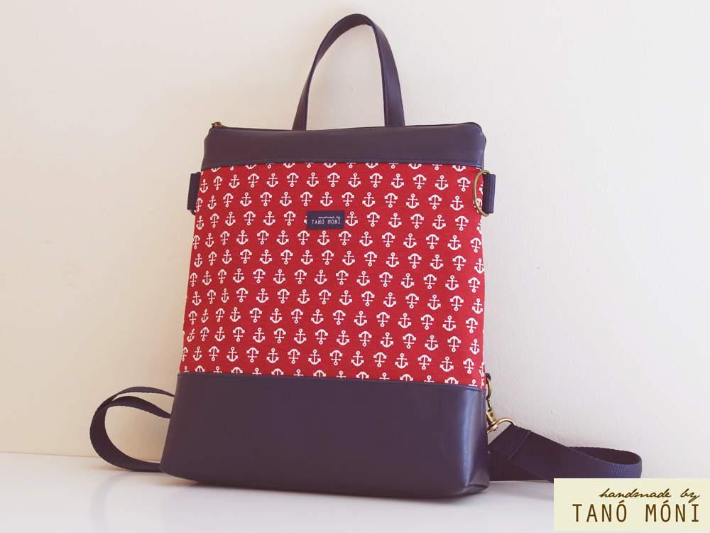 CONFORT BAG hátizsák és táska piros horgonyos (új)