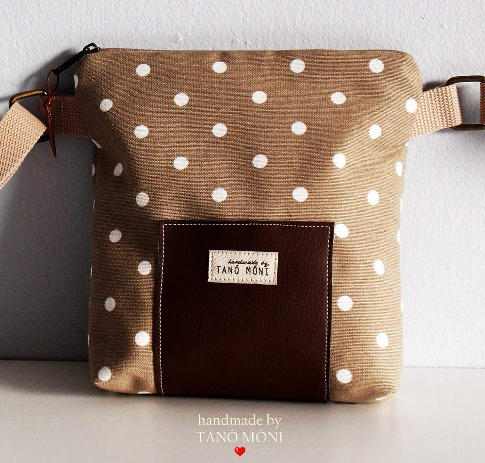 LITTLE BAG textil táska drapp fehér pöttyös (új)