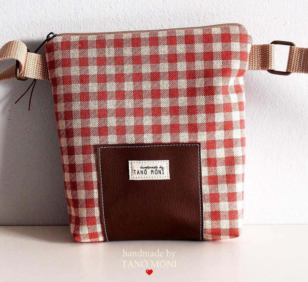 LITTLE BAG textil táska natur piros kockás (új)