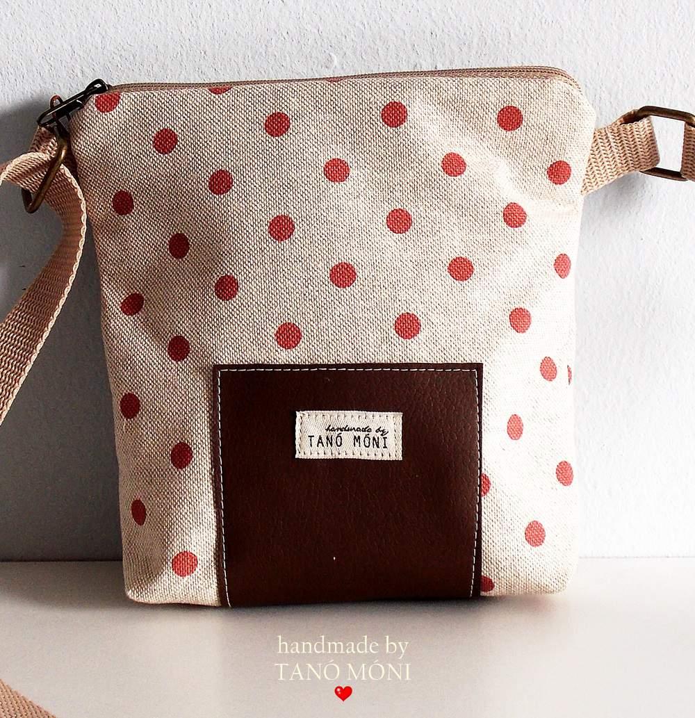 LITTLE BAG textil táska natur piros pöttyös (új)