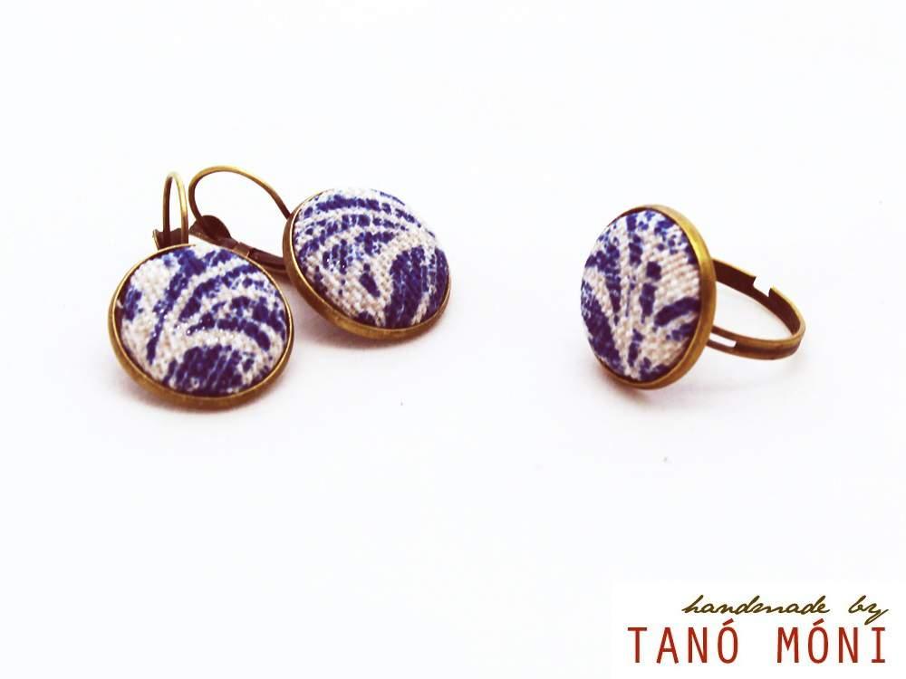 ÉKSZER SZETT fülbevaló gyűrű kék barokk