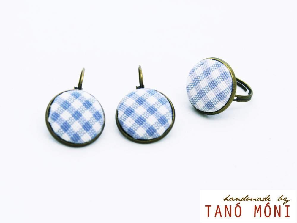 ÉKSZER SZETT fülbevaló gyűrű kék kiskockás (új)