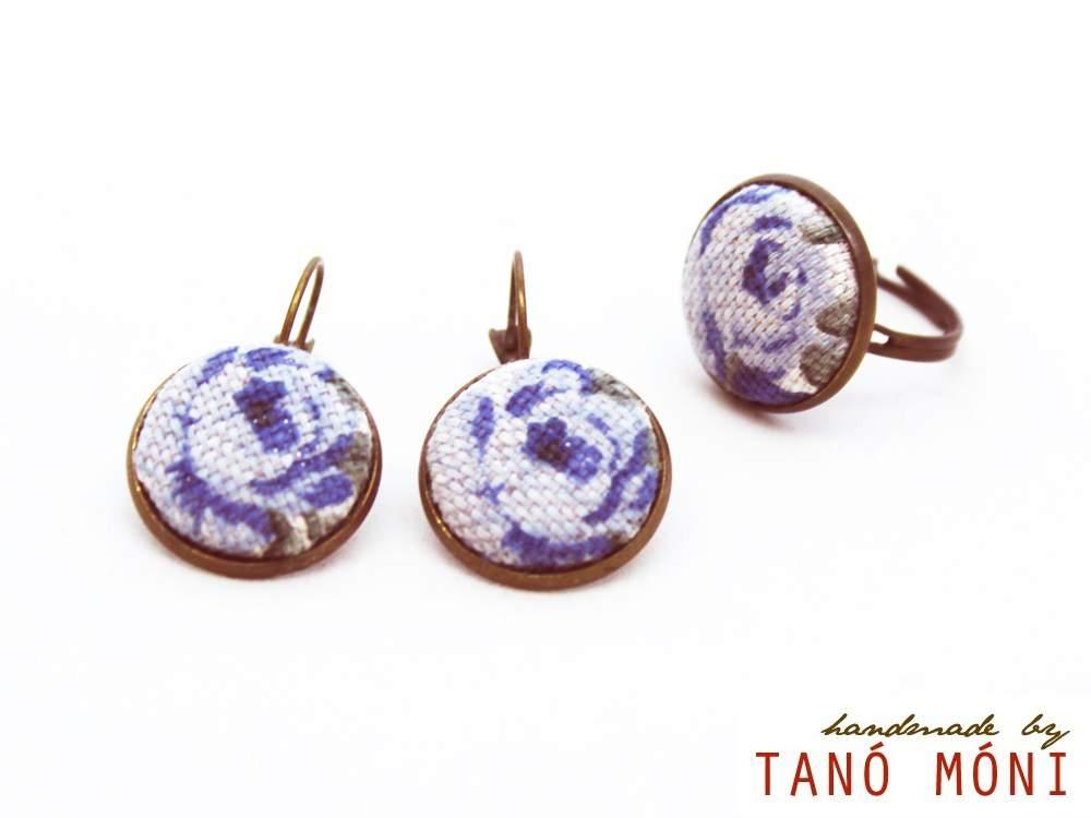 ÉKSZER SZETT fülbevaló gyűrű kék rózsás (új)