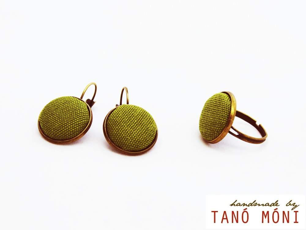 ÉKSZER SZETT fülbevaló gyűrű zöld (új)