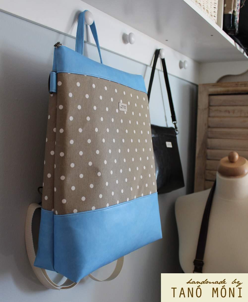 CONFORT BAG hátizsák és táska drapp fehér pöttyös (új)