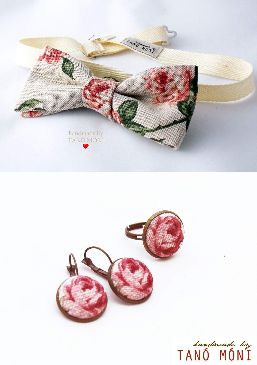 Csokornyakkendő -Ékszer szett natur piros rózsás (új)