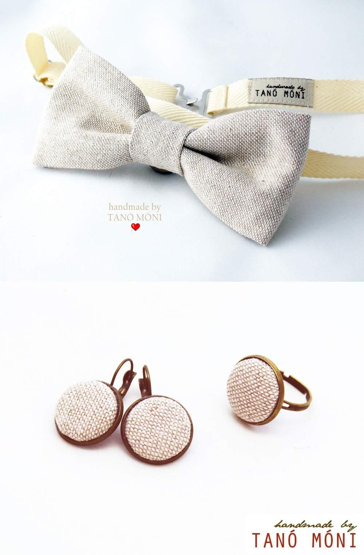 Csokornyakkendő -Ékszer szett natur (új)