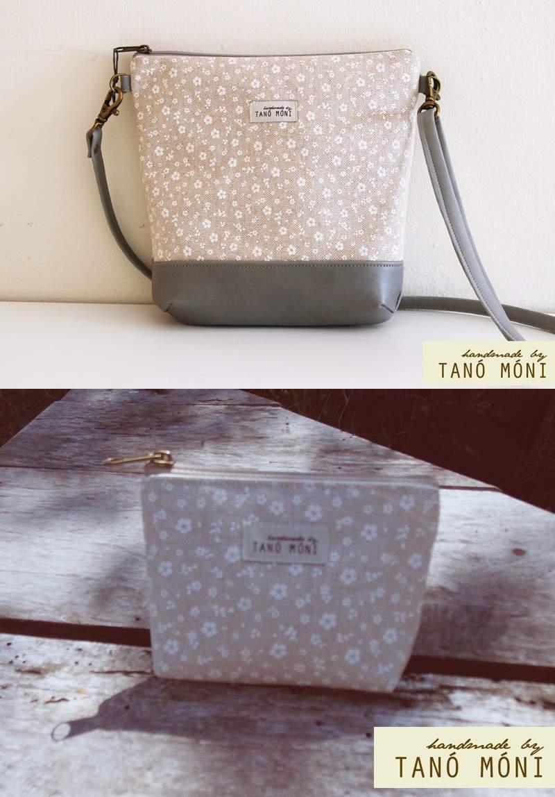 NATURE BAG kistáska szett fehér kisvirágos (új)