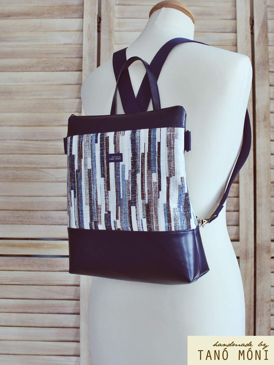 CONFORT BAG hátizsák és táska kék barna csíkos sötétkék (új)