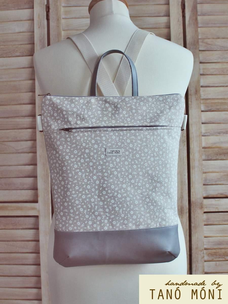 STREET BAG hátizsák és táska natur kisvirágos szürke aljjal  (új)