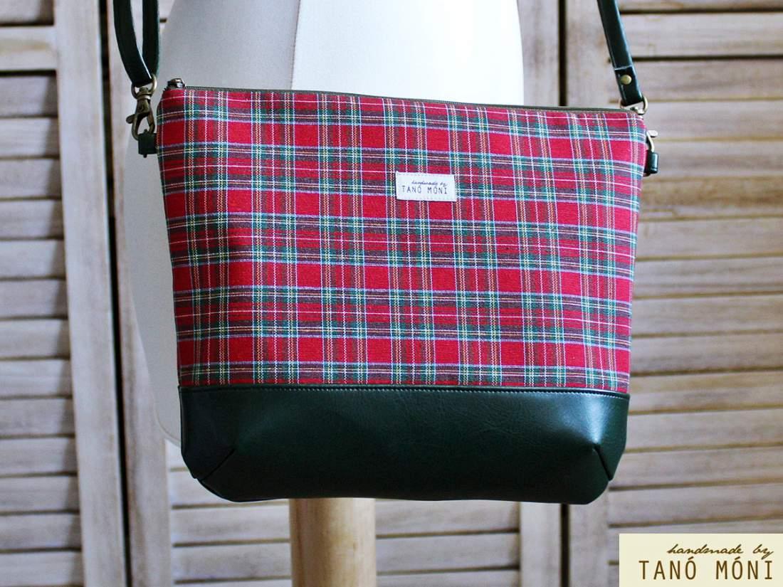 NATURE BAG közepes táska skót kockás olajzöld aljjal (új)